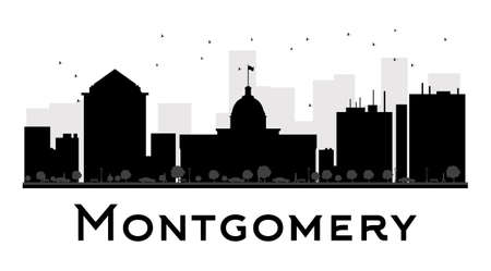 montgomery: Montgomery City skyline black and white silhouette. Vector illustration. Simple flat concept for tourism presentation, banner, placard or web site. Business travel concept. Cityscape with landmarks