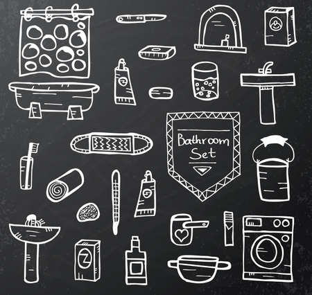 bathroom equipment: Set of bathroom equipment on black chalkboard. Vector illustration. Concept with objects isolated on black background. Hand drawn doodle icons set.