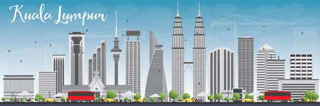 Kuala Lumpur Skyline with Gray Buildings and Blue Sky. Vector illustration. Business travel and tourism concept with modern buildings. Image for presentation, banner, placard and web site. Vectores
