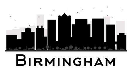 birmingham: Birmingham City skyline black and white silhouette. Vector illustration. Simple flat concept for tourism presentation, banner, placard or web site. Business travel concept. Cityscape with famous landmarks