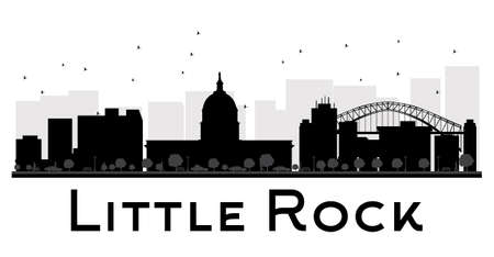 little rock: Little Rock City skyline black and white silhouette. Vector illustration. Simple flat concept for tourism presentation, banner, placard or web site. Business travel concept. Cityscape with landmarks