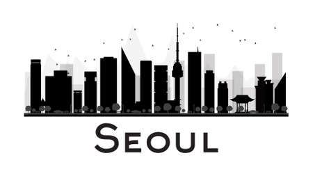 Seoul: Seoul City skyline black and white silhouette. Vector illustration. Concept for tourism presentation, banner, placard or web site. Business travel concept. Cityscape with famous landmarks