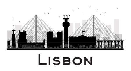 Lisbon City skyline black and white silhouette. Vector illustration. Simple flat concept for tourism presentation, banner, placard or web site. Business travel concept. Cityscape with famous landmarks Vectores