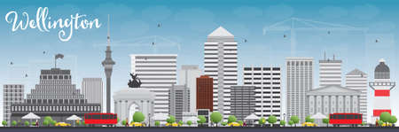 oceania: Wellington skyline with grey buildings and blue sky. Vector illustration. Business travel and tourism concept with modern buildings. Image for presentation, banner, placard and web site. Illustration
