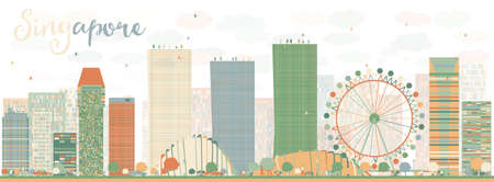 Abstract Singapore skyline with color landmarks. Business travel and tourism concept with modern buildings. Image for presentation, banner, placard and web site. Vector illustration
