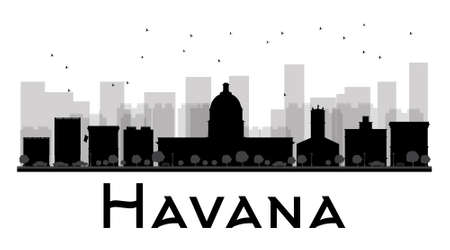 cuba flag: Havana City skyline black and white silhouette. Vector illustration. Simple flat concept for tourism presentation, banner, placard or web site. Business travel concept. Cityscape with famous landmarks