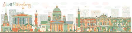 色のランドマークと抽象的なサンクトペテルブルク スカイライン。ビジネス旅行と観光コンセプト歴史的建造物。プレゼンテーション、バナー、プ