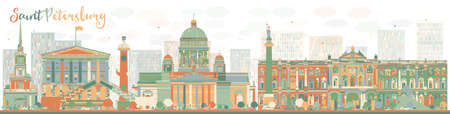 Abstract Saint Petersburg skyline with color landmarks. Business travel and tourism concept with historic buildings. Image for presentation, banner, placard and web site. Vector illustration