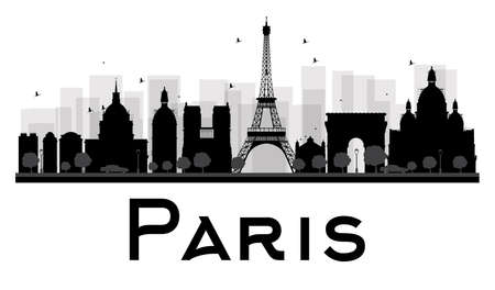 paris skyline: Paris City skyline black and white silhouette. Vector illustration. Simple flat concept for tourism presentation, banner, placard or web site. Business travel concept. Cityscape with famous landmarks