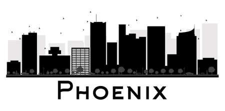 ave fenix: Horizonte de la ciudad de Phoenix negro y blanco de la silueta. Ilustración del vector. concepto de plano simple para la presentación turismo, bandera, cartel o página web. el concepto de viaje de negocios. Paisaje urbano con puntos de referencia