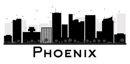 phoenix arizona: Phoenix City skyline black and white silhouette. Vector illustration. Simple flat concept for tourism presentation, banner, placard or web site. Business travel concept. Cityscape with landmarks Illustration