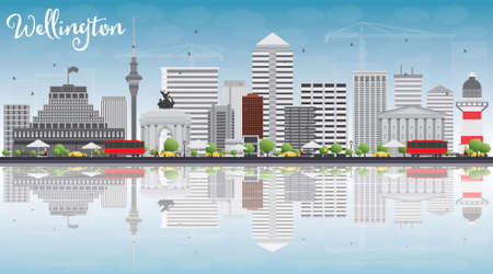 new zealand landscape: Wellington skyline with grey buildings, blue sky and reflections. Vector illustration. Business travel and tourism concept with place for text. Image for presentation, banner, placard and web site.