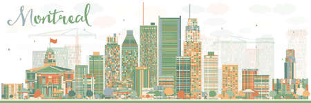 Abstract Montreal skyline with color buildings. Vector illustration. Business travel and tourism concept with modern buildings. Image for presentation, banner, placard and web site.