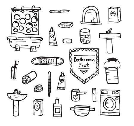 morning rituals: Set of bathroom equipment. Vector illustration. Concept with objects isolated on white background. Hand drawn doodle icons set.