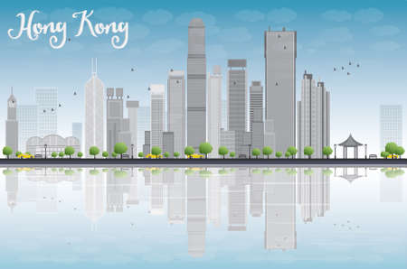 Hong Kong skyline with grey buildings and blue sky. Vector illustration. Business travel and tourism concept with modern buildings. Image for presentation, banner, placard and web site.
