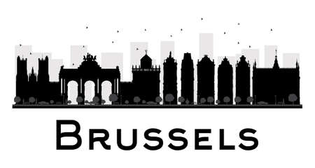 Brussels City skyline black and white silhouette. Vector illustration. Simple flat concept for tourism presentation, banner, placard or web site. Business travel concept. Cityscape with famous landmarks Иллюстрация