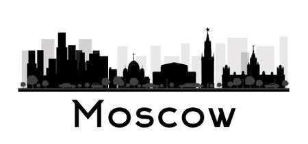 Moscow City skyline black and white silhouette. Vector illustration. Concept for tourism presentation, banner, placard or web site. Business travel concept. Cityscape with famous landmarks