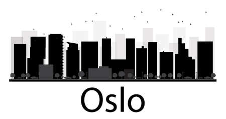 Oslo City skyline black and white silhouette. Vector illustration. Simple flat concept for tourism presentation, banner, placard or web site. Business travel concept. Cityscape with famous landmarks
