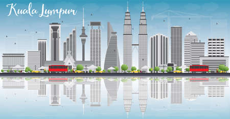 Kuala Lumpur Skyline with Gray Buildings, Blue Sky and Reflections. Vector illustration. Business travel and tourism concept with place for text. Image for presentation, banner, placard and web site.