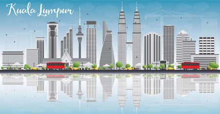 De Horizon van Kuala Lumpur met Gray Gebouwen, Blauwe Hemel en Reflections. Vector illustratie. Zakelijke reizen en toerisme concept met plaats voor tekst. Afbeelding voor de presentatie, banner, aanplakbiljet en website.