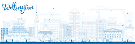 new zealand landscape: Outline Wellington skyline with blue buildings. Vector illustration. Business travel and tourism concept with modern buildings. Image for presentation, banner, placard and web site.