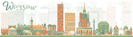 Abstract Warsaw skyline with color buildings. Vector illustration. Business travel and tourism concept with modern buildings. Image for presentation, banner, placard and web site. Illustration