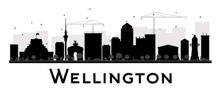 new zealand landscape: Wellington City skyline black and white silhouette. Vector illustration. Simple flat concept for tourism presentation, banner, placard or web site. Business travel concept. Cityscape with landmarks Illustration
