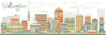 new zealand landscape: Abstract Wellington skyline with color buildings. Vector illustration. Business travel and tourism concept with modern buildings. Image for presentation, banner, placard and web site. Illustration