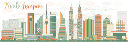 Abstract Kuala Lumpur Skyline with Color Buildings. Vector illustration. Business travel and tourism concept with modern buildings. Image for presentation, banner, placard and web site.