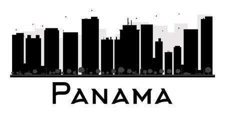 business graphics: Panama City skyline black and white silhouette. Vector illustration. Simple flat concept for tourism presentation, banner, placard or web site. Business travel concept. Cityscape with landmarks