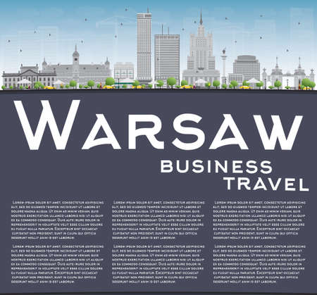 european culture: Warsaw skyline with grey buildings, blue sky and copy space. Vector illustration. Business travel and tourism concept with modern buildings. Image for presentation, banner, placard and web site. Illustration