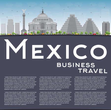angel de la independencia: horizonte de México con puntos de referencia de grises y cielo azul. Ilustración del vector. Los viajes de negocios y el concepto de turismo, con edificios históricos y espacio de la copia. Imagen de la presentación, la bandera, el cartel y la página web. Vectores