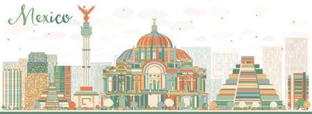 Abstracte Mexico skyline met kleur bezienswaardigheden. Vector illustratie. Zakelijke reizen en toerisme concept met historische gebouwen. Afbeelding voor de presentatie, banner, aanplakbiljet en website.