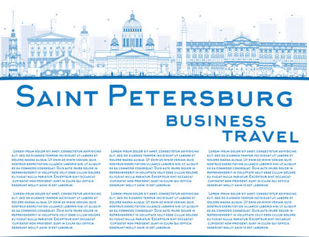 saint petersburg: Outline Saint Petersburg skyline with blue landmarks and copy space. Business travel and tourism concept with historic buildings. Image for presentation, banner, placard and web site. Vector illustration Illustration