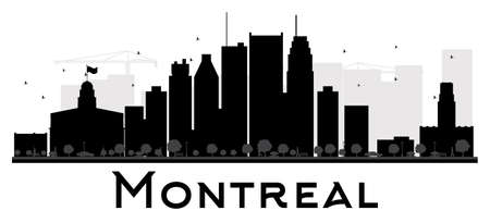 montreal: Montreal City skyline black and white silhouette. Vector illustration. Simple flat concept for tourism presentation, banner, placard or web site. Business travel concept. Cityscape with landmarks