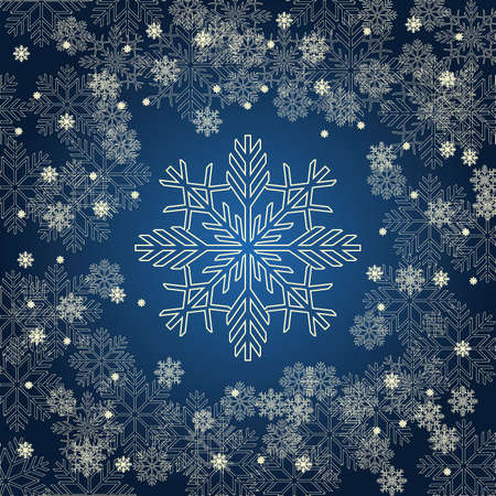 december holidays: Christmas card with golden snowflakes on dark blue background. New Year invitation. Vector illustration