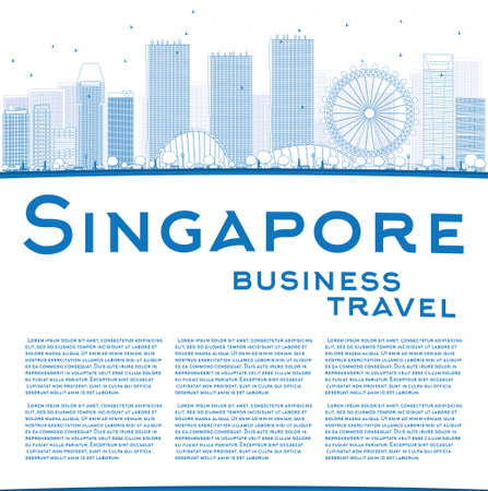 singapore city: Outline Singapore skyline with blue landmarks and copy space. Vector illustration. Business travel and tourism concept with place for text. Image for presentation, banner, placard and web site. Illustration