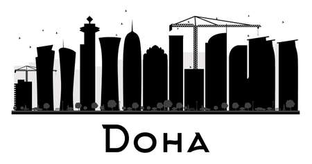 southwest asia: Doha City skyline black and white silhouette. Vector illustration. Simple flat concept for tourism presentation, banner, placard or web site. Business travel concept. Cityscape with landmarks Illustration