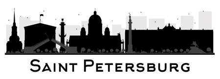 saint petersburg: Saint Petersburg City skyline black and white silhouette. Vector illustration. Simple flat concept for tourism presentation, banner, placard or web site. Business travel concept. Cityscape with landmarks Illustration
