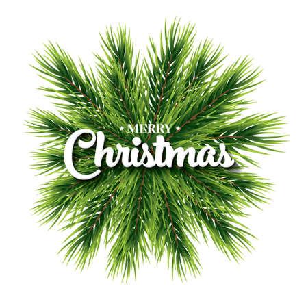 Vrolijke Kerstmis van letters voorziende kaart met pijnboomtak. Vector illustratie. Nieuwjaars vakantieconcept voor club of partijvlieger. Geïsoleerde Ccristmas-decoratie. Stockfoto - 49459254