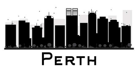 perth: Perth City skyline black and white silhouette. Vector illustration. Simple flat concept for tourism presentation, banner, placard or web site. Business travel concept. Cityscape with landmarks