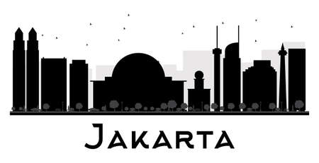 jakarta: Jakarta City skyline black and white silhouette. Vector illustration. Simple flat concept for tourism presentation, banner, placard or web site. Business travel concept. Cityscape with landmarks Illustration