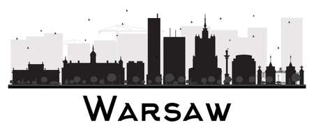panorama view: Warsaw City skyline black and white silhouette. Vector illustration. Simple flat concept for tourism presentation, banner, placard or web site. Business travel concept. Cityscape with landmarks