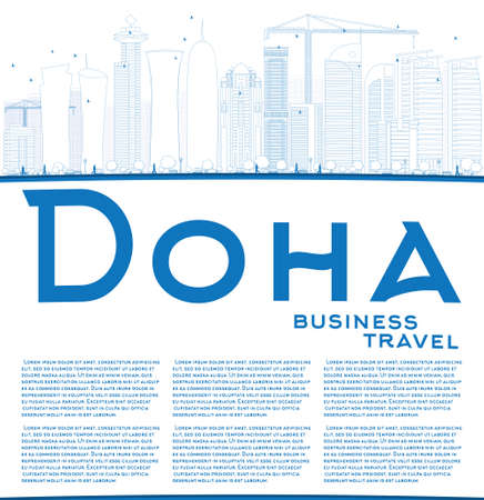 doha: Outline Doha skyline with blue skyscrapers. Vector illustration. Business and tourism concept with skyscrapers and copy space. Image for presentation, banner, placard or web site