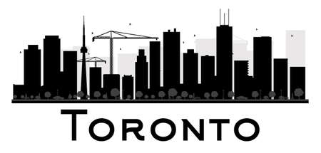 Toronto City skyline black and white silhouette. Vector illustration. Simple flat concept for tourism presentation, banner, placard or web site. Business travel concept. Cityscape with landmarks