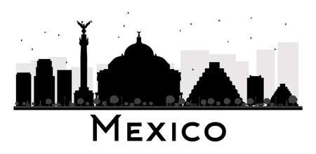 angel de la independencia: Ciudad de México horizonte negro y silueta blanca. Ilustración del vector. Concepto plana simple para su presentación el turismo, bandera, cartel o sitio web. Concepto de viaje de negocios. Paisaje urbano con puntos de referencia
