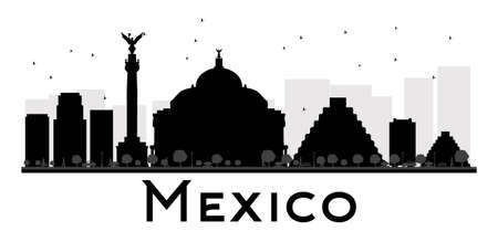 mexico city: Mexico City skyline black and white silhouette. Vector illustration. Simple flat concept for tourism presentation, banner, placard or web site. Business travel concept. Cityscape with landmarks