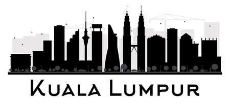 lumpur: Kuala Lumpur City skyline black and white silhouette. Vector illustration. Simple flat concept for tourism presentation, banner, placard or web site. Business travel concept. Cityscape with landmarks Illustration