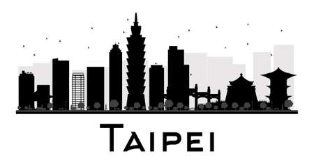 Taipei City skyline black and white silhouette. Vector illustration. Simple flat concept for tourism presentation, banner, placard or web site. Business travel concept. Cityscape with landmarks