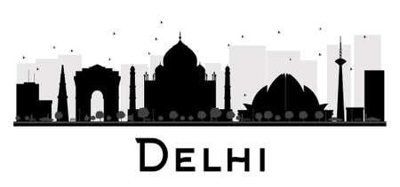 monument in india: Delhi City skyline black and white silhouette. Vector illustration. Simple flat concept for tourism presentation, banner, placard or web site. Business travel concept. Cityscape with landmarks